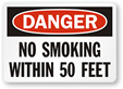 No Smoking within 50' Signs