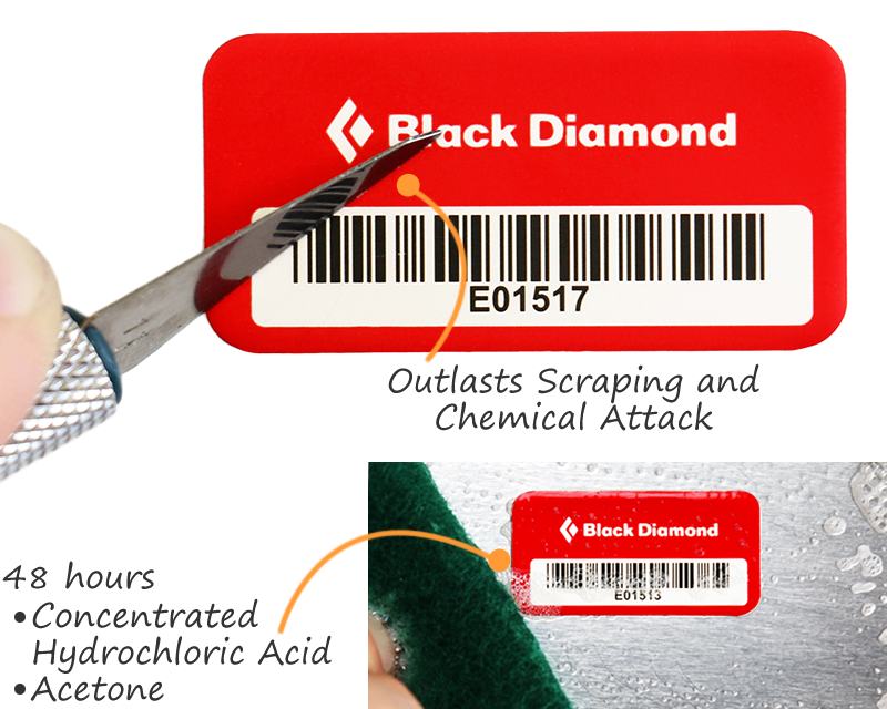 Anodized asset tags are scratch-proof and chemical-resistant