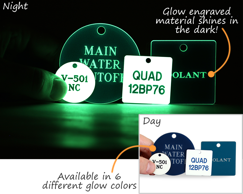 Glow in the dark tags