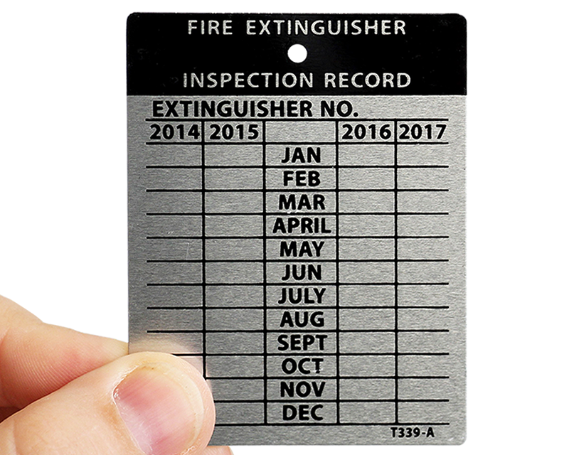Metal fire extinguisher inspection tags – Security sistems