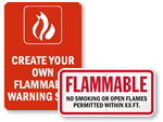 Custom Flammable Materials Signs