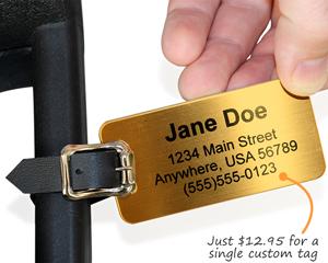 Custom brass luggage tag