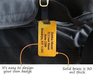 Personalized brass luggage tag