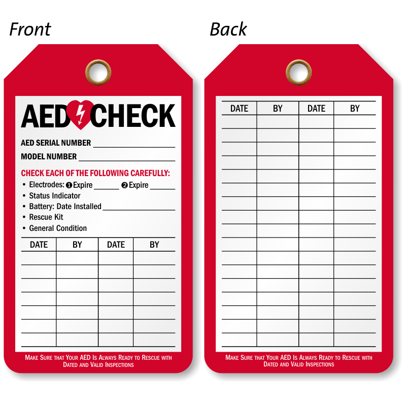 Aed Inspection Tags For Automatic External Defibrillator