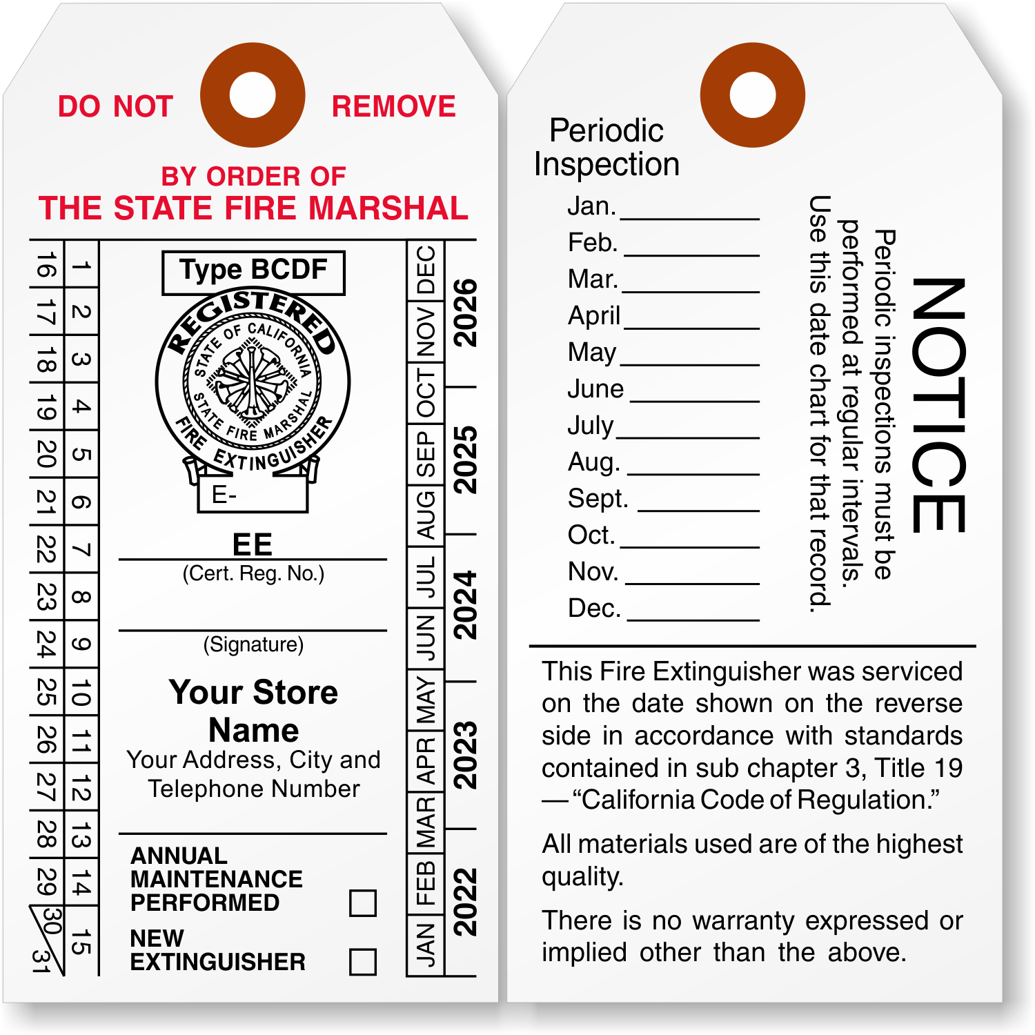 fire extinguisher inspection tag template - california fire extinguisher tags