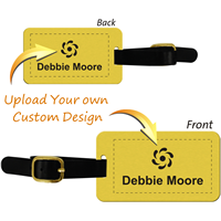 Double-Sided Custom Brass Luggage Tag with Leather Strap