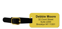 Customizable Brass Luggage Tag with Leather Strap