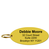 Personalized Brass Key Chain, Add Name, Address