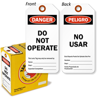 Bilingual 2-Sided Do Not Operate Danger Tag