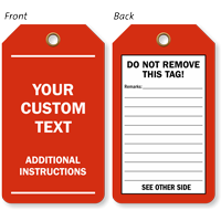 Custom Text And Instructions Red Plastic Tag
