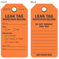 Inspection Record Leak Tag