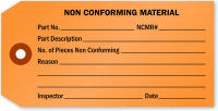 Non Conforming Material Inspection Tag