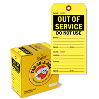 Out of Service Safety Tags-on-a-Roll