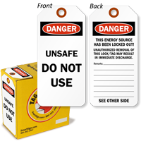 Danger Unsafe Do Not Use Lockout Tag-on-a-Roll