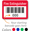 FIRE EXTINGUISHER, with barcode numbering