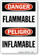 Bilingual Danger / Peligro Flammable OSHA Sign