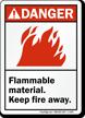 Danger (ANSI) Flammable Material Keep Fire Away Sign