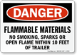 Flammable Materials No Smoking Danger Sign