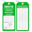 Green Tag Do Not Alter Scaffold Safety Tag