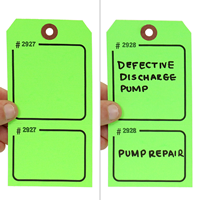 Blank Fluorescent Green Numbered Tag with Tear-Stub