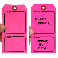 Blank Fluorescent Pink Numbered Tag with Tear-Stub