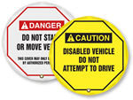 Forklift Steering Wheel Lockout Signs