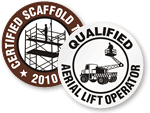 Scaffold Trained Hard Hat Decals