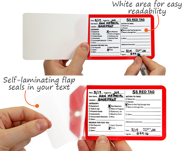 Self Laminating 5S Red Tags