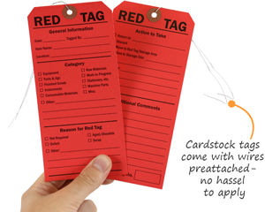 Cardstock 5S red tag with wire