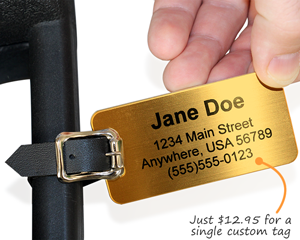 Custom brass luggage tag
