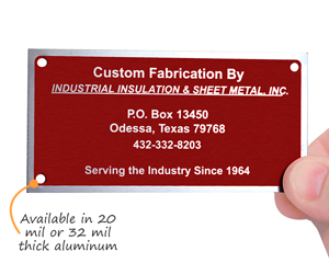 Custom Metal Equipment Tag