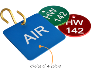 Metal valve tags in colors