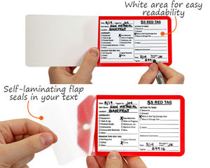 Self-laminating 5S red tags