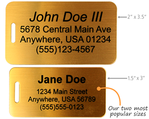 Solid brass luggage tags