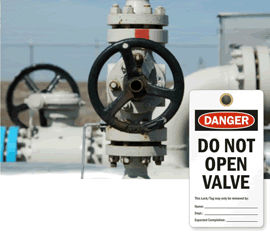 Do Not Open Valve Tags