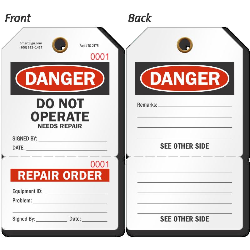 7d8f42dc69d Multi-Part Repair Tags - Service Repair Tag