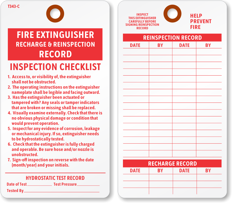 photo relating to Printable Fire Extinguisher Inspection Tags identified as Fireplace Extinguisher Tags Fireplace Extinguisher Inspection Tags