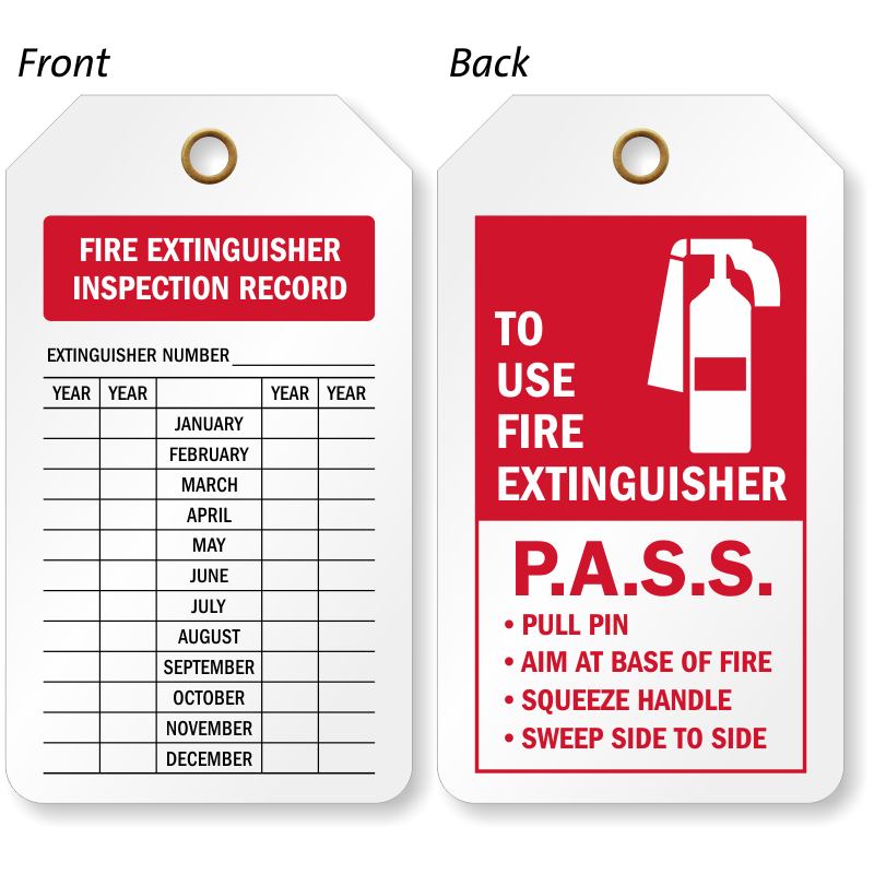 Fire Extinguisher Inspection Record Tags Fire