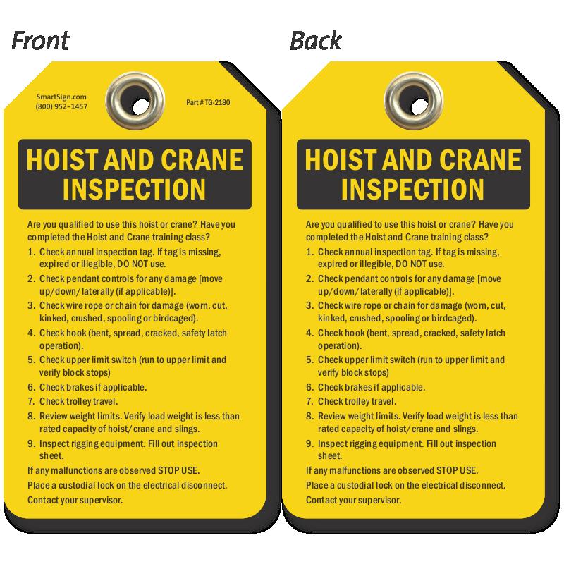 Crane Inspection Tags