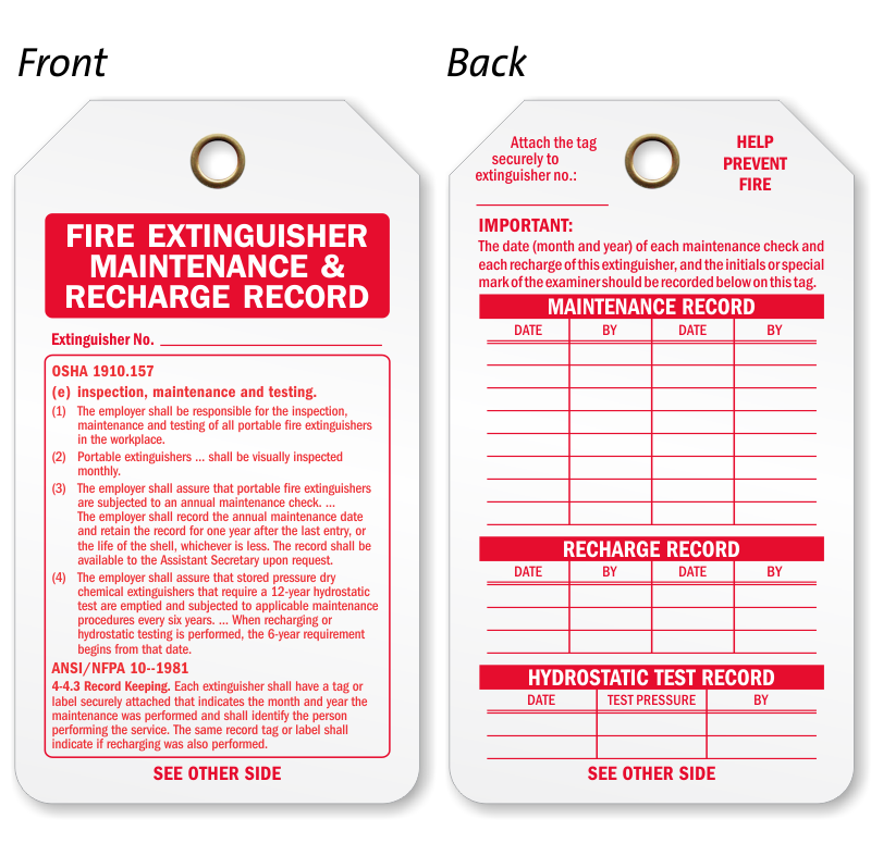 Fire Extinguisher Tags | Fire Extinguisher Inspection Tags
