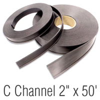 Magnetic 'C' Channel  Roll Stock, 2 in. x 50'