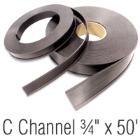 Magnetic 'C' Channel Roll Stock, 3/4 in. x 50'