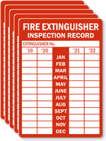 Fire Extinguisher Inspection Record, Set of 5 Label