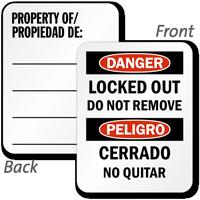 Bilingual Danger Locked Out Property Of Padlock Label