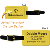 2-Sided Custom Brass Luggage Tag with Leather Strap