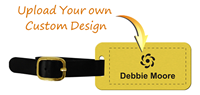 Personalized Brass Luggage Tag with Leather Strap