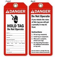 2 Sided Danger Hold Tag