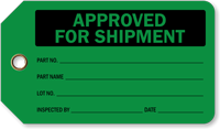 Approved For Shipment Plastic Inspection Tags