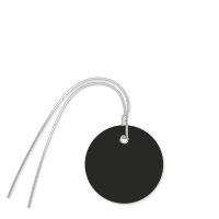 Plastic Circle Wired Tags, Black