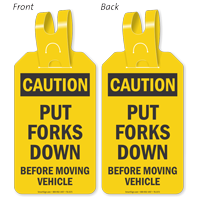 Caution Put Forks Down Self-Locking Tag